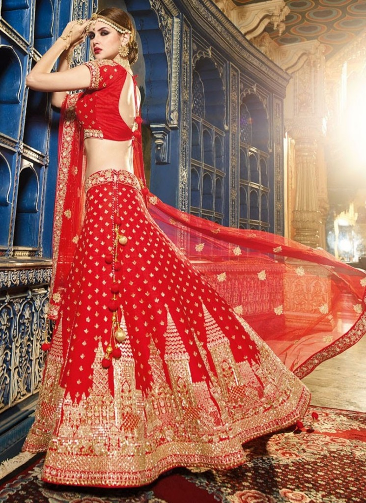red raw silk circular lehenga