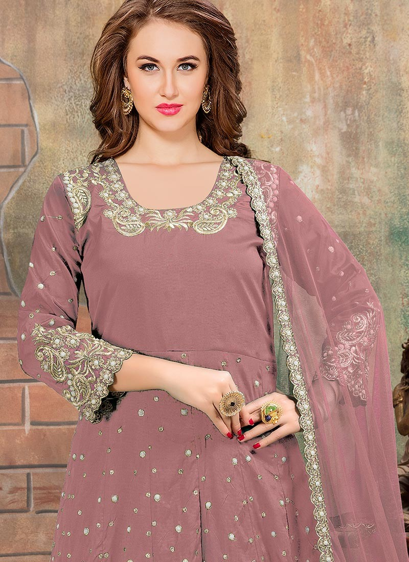 a2a7b3c03f Pink Silk Embroidered Abaya Style Suit · Zoom