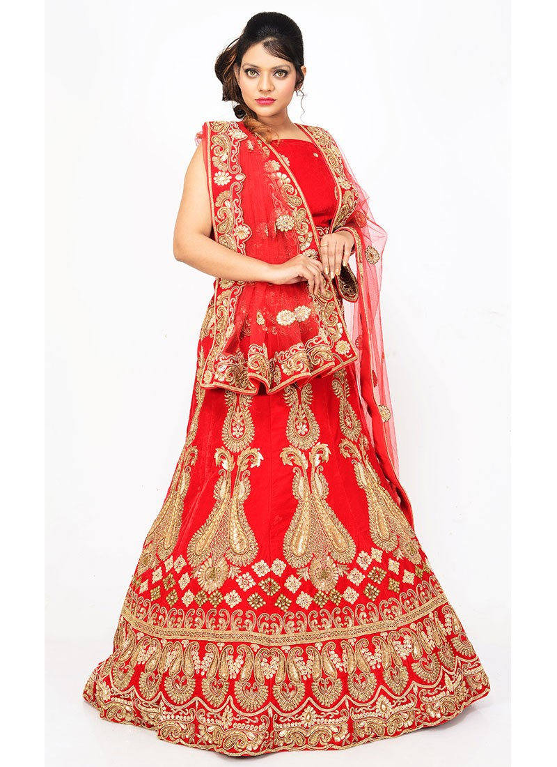 76b0e4abbd7774 Red Velvet Fish Cut Lehenga