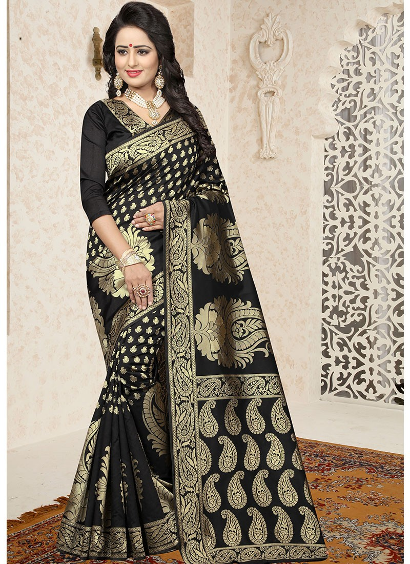 d0952d1301 Black Banarasi Art Silk Jacquard Saree