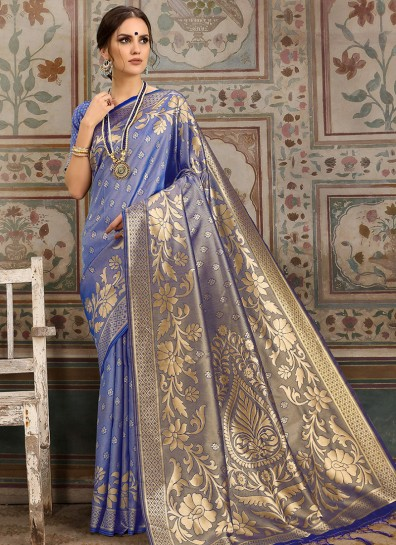 Blue Kanchipuram Silk Regional Saree