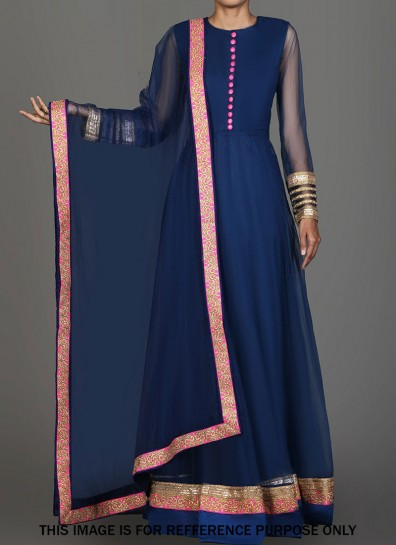 Blue Georgette Abaya Suit
