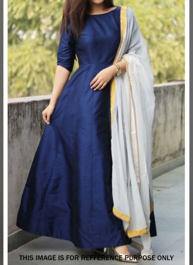 Blue Art Silk Abaya Suit