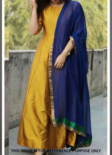Mustard Art Silk Abaya Suit