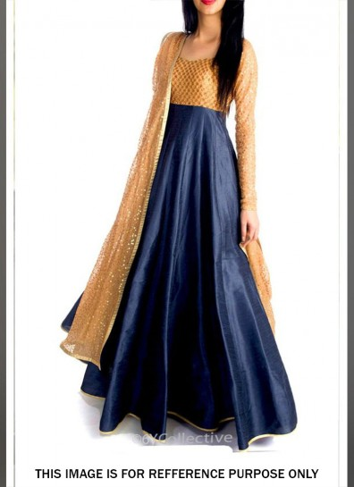Blue Raw Silk Abaya Suit