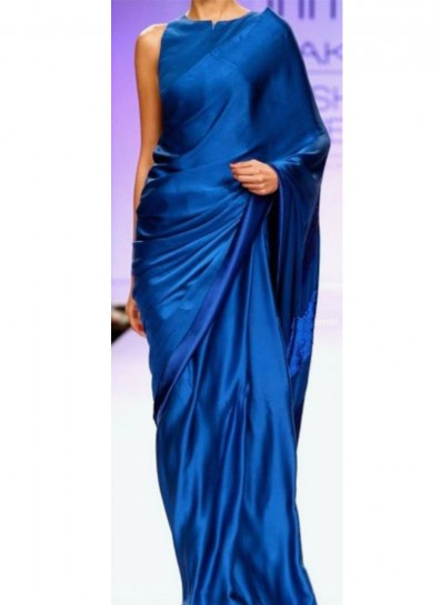 Blue Satin Silk Bollywood Saree