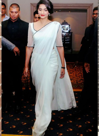 Off White Georgette Bollywood Saree
