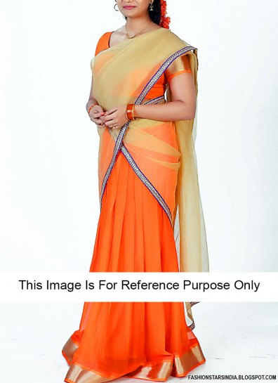 Orange Art Silk Pavadai Thavani