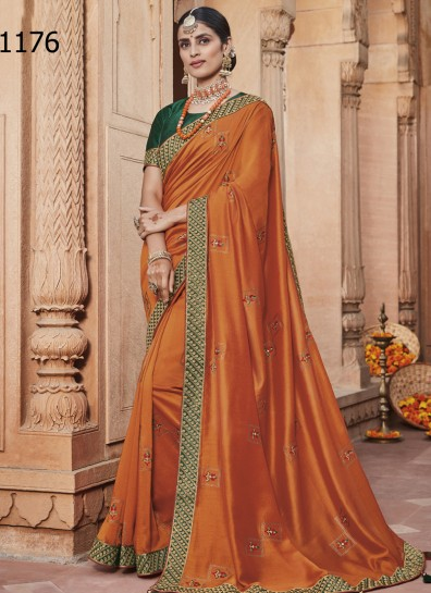 Orange Silk Designer Saree
