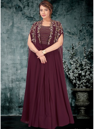Wine Georgette Jacket Style Gown
