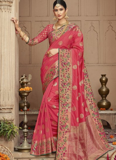 Pink Silk Classic Wear Saree