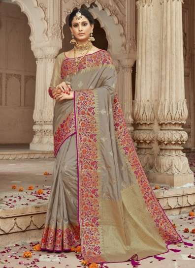 Grey Silk Classic Wear Saree