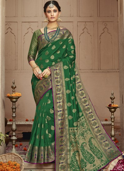Green Silk Classic Wear Saree