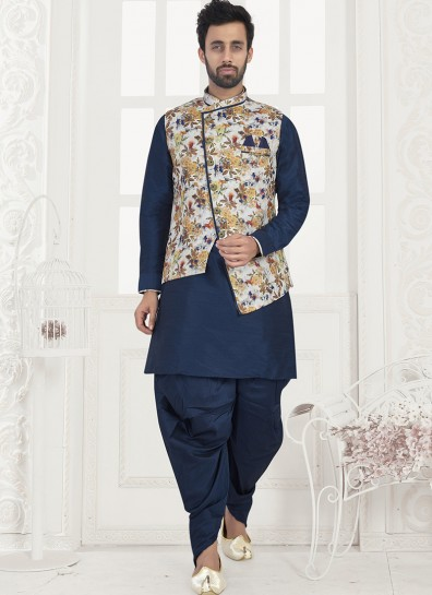 Blue Dupion Kurta Pyjama With Jacket