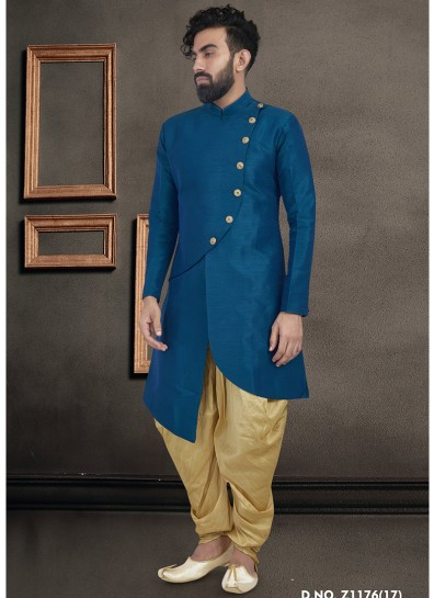 Blue Art Silk Kurta Pyjama
