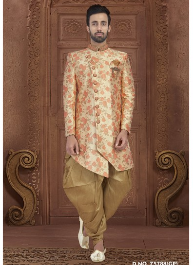 Orange Jacquard Kurta Pyjama