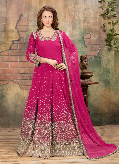 Pink Silk Embroidered Abaya Suit