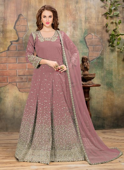 36847ceb3e Pink Silk Embroidered Abaya Style Suit