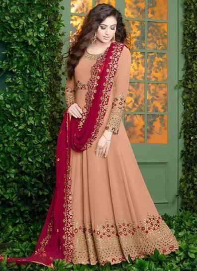 Peach Georgette Abaya Suit