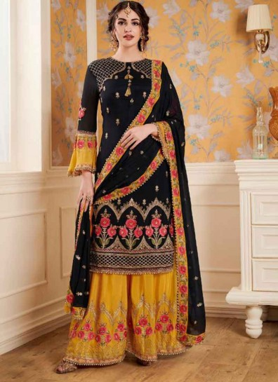 Black Yellow Satin Georgette Palazzo Suit