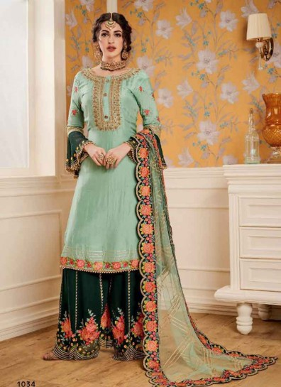 Sea Green Teal Satin Georgette Palazzo Suit