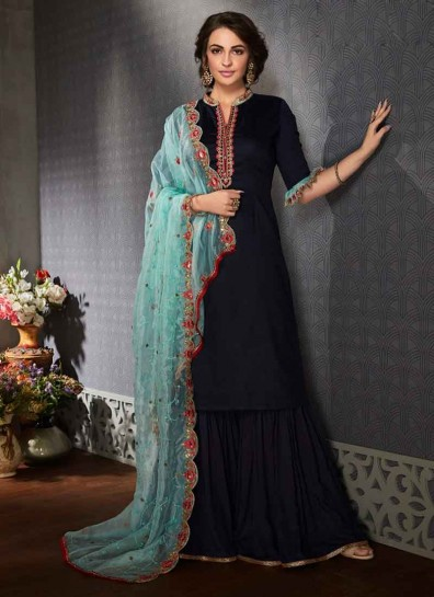 Blue Satin Georgette Sharara Suit