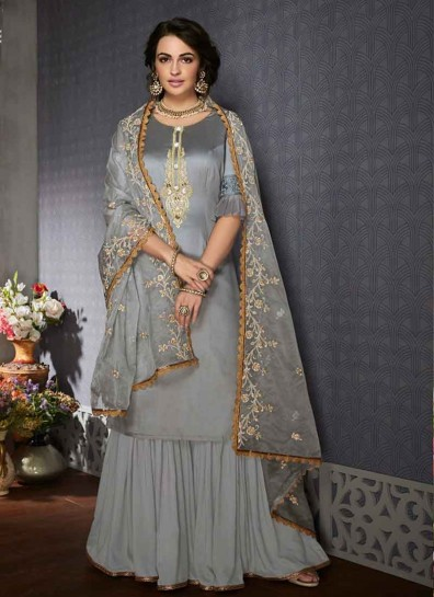 Grey Satin Georgette Sharara Suit