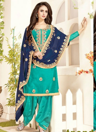 Blue Chanderi Patiala Suit
