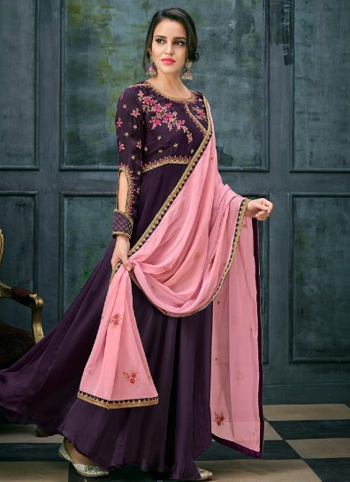 Purple Georgette Abaya Suit