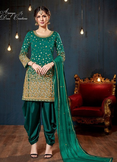 Green Taffeta Silk Patiala Suits
