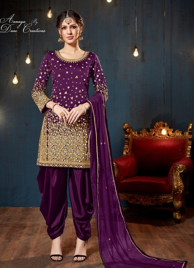 Purple Taffeta Silk Patiala Suits
