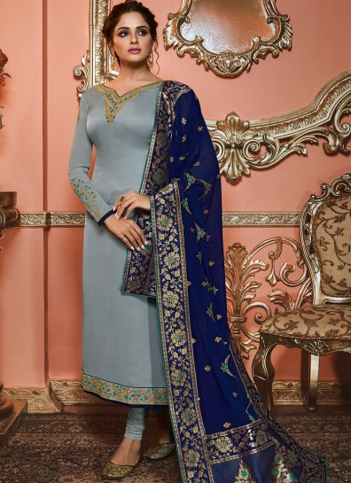 Grey Satin Long Length Salwar Suit