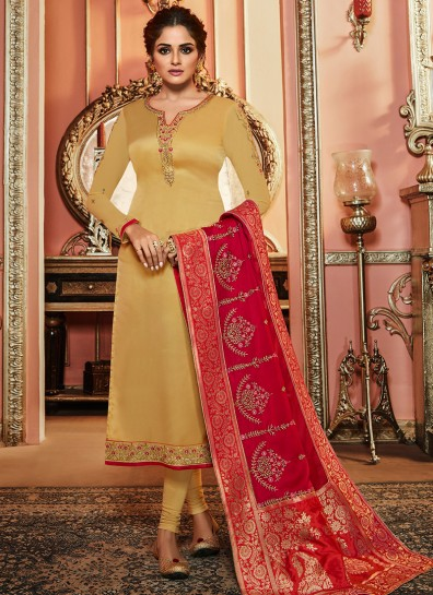 Beige Satin Long Length Salwar Suit
