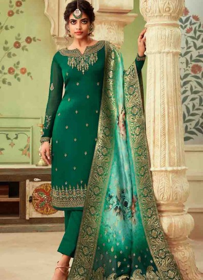 Green Satin Straight Cut Suit