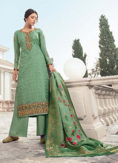 Sea Green Georgette Palazzo Suit