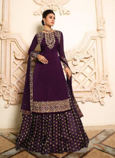 Wine Satin Lehenga Suit