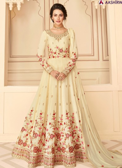 Cream Silk Anarkali Suit