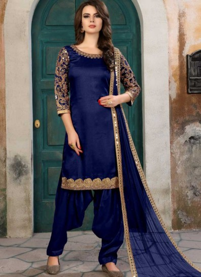 Blue Art Silk Patiala Suit