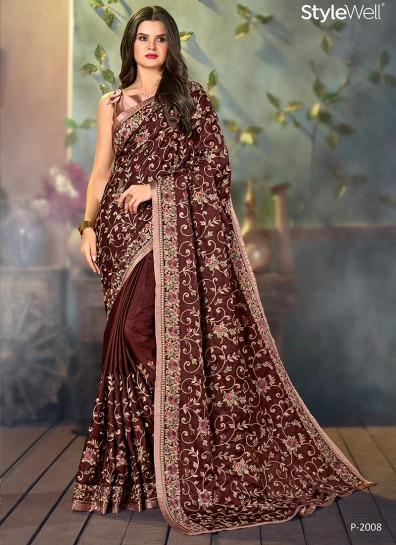 Brown Satin Designer Saree