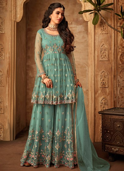 Turquoise Net Sharara Suit