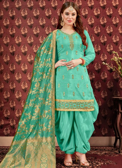 Green Uppada Silk Patiala Suits