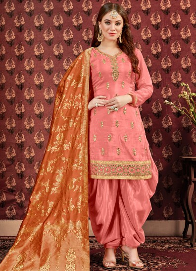 Peach Uppada Silk Patiala Suits