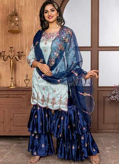 Blue Silk Sharara Suit