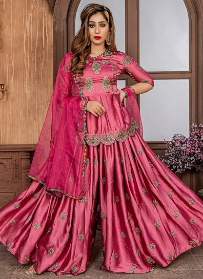 Pink Satin Sharara Suit