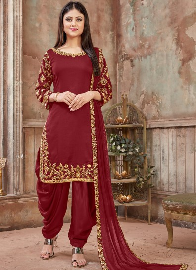 Red Art Silk Patiala Suit