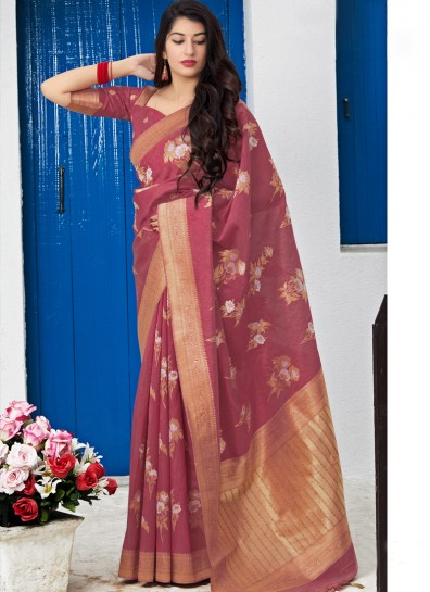 Maroon Chanderi Classic Wear Saree