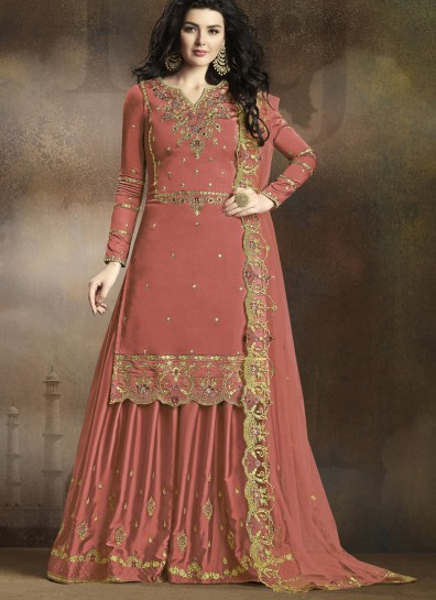 Rust Georgette Palazzo Suit
