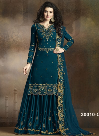 Teal Georgette Palazzo Suit