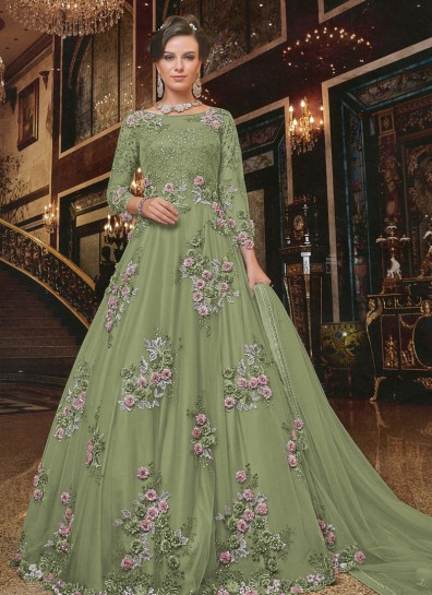 Green Net Abaya Suit