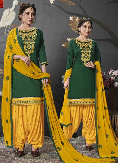 Green Cotton Silk Patiala Suits